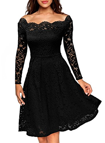 MissMay Women's Vintage Floral Lace Long Sleeve Boat Neck Cocktail Formal Swing Dress Black Large (Women Dress Cocktail)