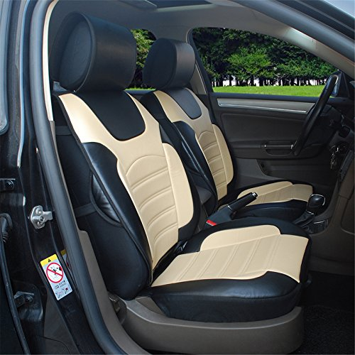 180205S Black/tan-2 Front Car Seat Cover Cushions Leather Like Vinyl, Compatible to Toyota 4Runner Avalon Avanza Camry Corolla Land Cruiser Prius Venza