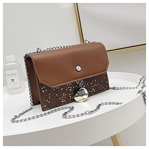 GUANGMING77 _Bag Tasche Tasche Kleine Kette Alle-Match Messenger Brown 9rLJBtxdD