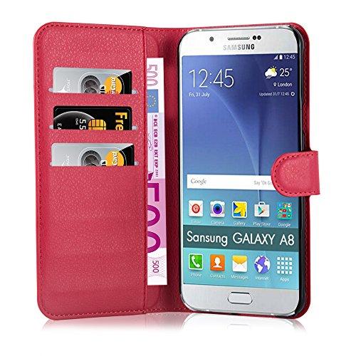 Cadorabo - Funda Samsung Galaxy A8 (5) (Modelo 2015) Book Style de Cuero Sintético en Diseño Libro �?Etui Case Cover Carcasa Caja Protección (con función de suporte y tarjetero) en ROJO-CARMÍN ROJO-CARMÍN