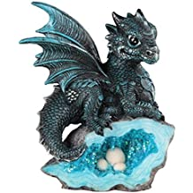 StealStreet SS-G-71581 Blue Medieval Baby Dragon with Crystal Egg Nest Decorative Figurine