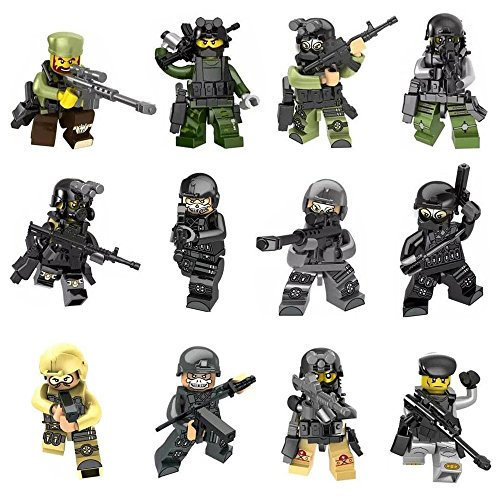 12pcs Army Minifigures SWAT Team with Military Weapons