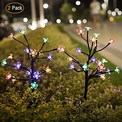 Jack & Rose Solar Garden Lights Outdoor 2 Pack Decorative Lights Solar Powered, Waterproof Colored Solar Fairy Lights for Yard,Patio, Garden, Flowerbed, Party, Christmas.