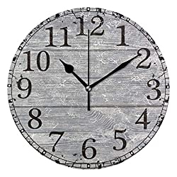 Wall Clock Light Grey Old Rustic Wood Barn Round Acrylic Clock Black Large Numbers Silent Non-Ticking 9.45 Clock Decorative Retro Battery Operated Clock for Home School Hotel Library