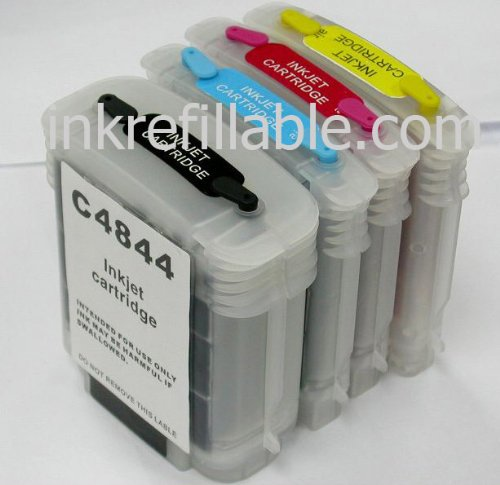 Refillable 10 C4841A C4842A C4843A C4844A ink cartridge for HP business inkjet 2500cse 2500cxi printer ()