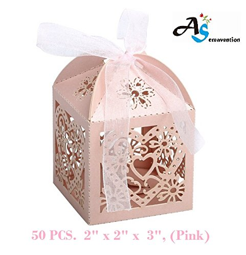 A&S Creavention Love Hearts Laser Cut Wedding Party Baby Shower Candy Box, 50PCS (Hearts, PINK)