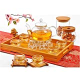 XIDUOBAO 27 oz glass filtering tea maker teapot and 6 tea cups, Set of 8 pcs.Best Way to Have a Drink.