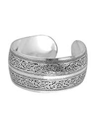 BODYA Unisex Tibeten Silver Carved Spiral Flower Connecting Branches Pattern Wide Band Open Cuff Bracelet Bangle Adjustable