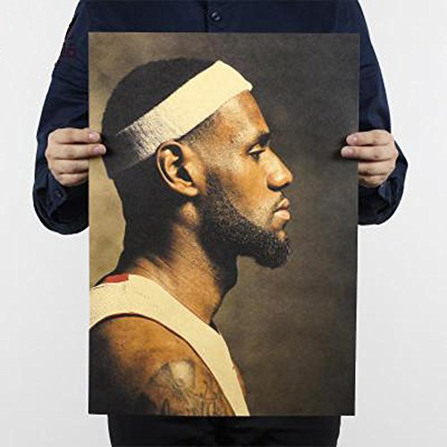 Fangeplus(TM) LeBron Raymone James Basketball Player NBA Star Antique Vintage Old Style Decorative Poster Print Wall Coffee Shop Bar Decor Decals 20.0''x13.7'' (Lebron James Style)