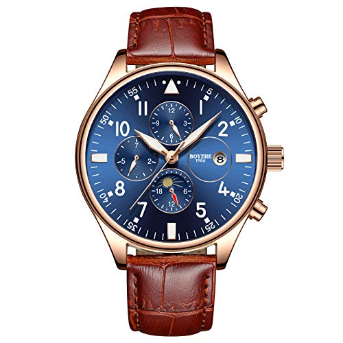 Mens Automatic Mechanical Sports Watches for Men Fashion Military Luminous Waterproof Leather Watch