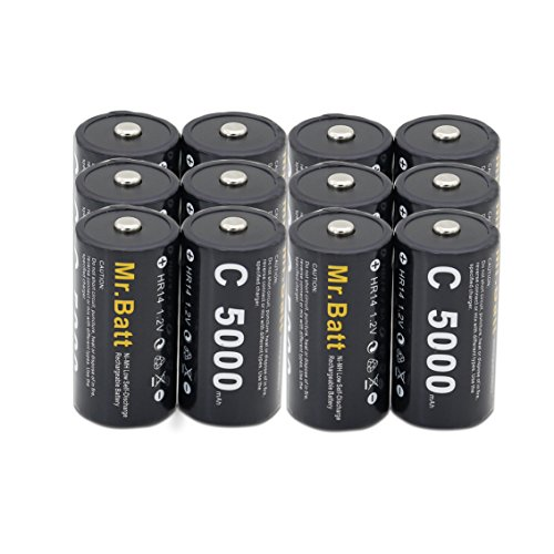 Mr.Batt C Size Rechargeable Batteries NiMh C Cell 1.2V 5000mAh High Capacity (12 Pack)