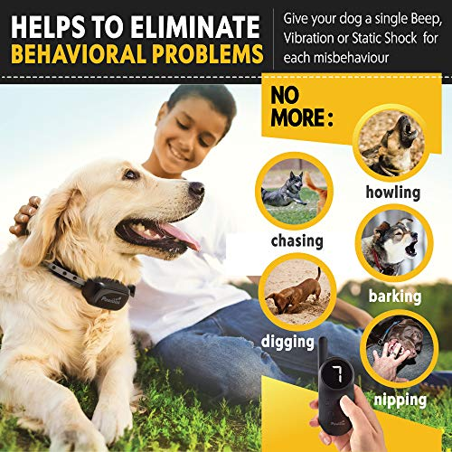 Pawious Dog Training Collar [Newest 2019] - Rechargeable Remote Dog Shock Collar Small Medium Large Dogs - Long Range, Waterproof, Large LED Screen, Beep, Vibration, Shock E-Collar by Pawious (Image #2)