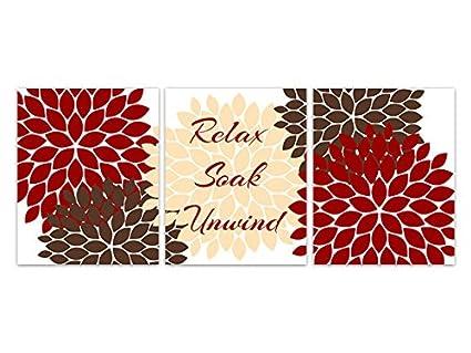 Amazon Com Relax Soak Unwind Red And Brown Bathroom Decor