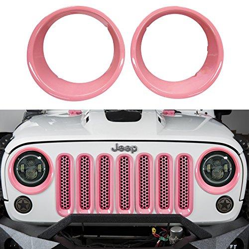opar Wrangler JK Pink Headlight Cover Front Light Bezels Inserts