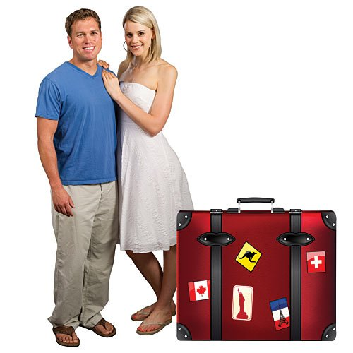 3 ft. Travel Suitcase Paris France Standee Standup Photo Booth Prop Background Backdrop Party Decoration Decor Scene Setter Cardboard -