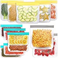 Reusable Storage Bags (13 Pack) 2 Gallon & 5 Sandwich Lunch Bags & 6 Small Kids Snack Bags for Food, Extra Thick Leak…