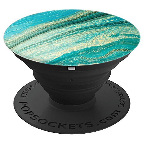 (So Pretty Turquoise And Cream Marble Art With Speckled Vein - PopSockets Grip and Stand for Phones and Tablets)