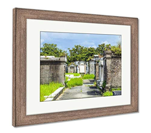 Ashley Framed Prints Lafayette Cemetery in New Orleans with Historic Grave Stones, Wall Art Home Decoration, Color, 26x30 (Frame Size), Rustic Barn Wood Frame, AG6469591