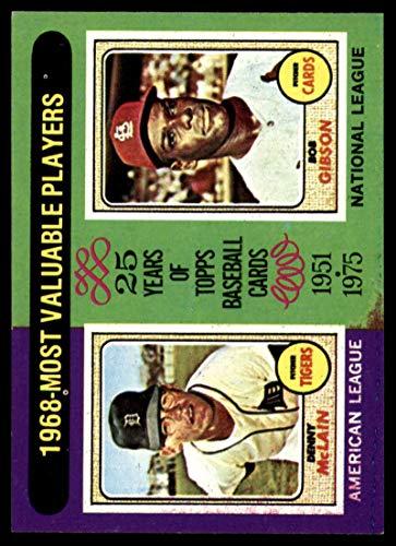 Baseball MLB 1975 Topps #206 Denny McLain/Bob Gibson 1968 MVP's