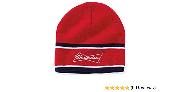 314901a725fe6 Amazon.com  Budweiser Adult Signature Stitched Beanie Hat - Red White and  Blue  Clothing
