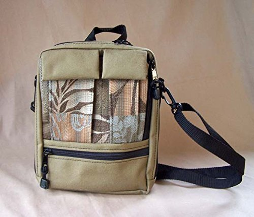 MKI Bags Cross Body Organizer Bag - Tapestry Tall Plus Purse - Tan/Bluestone - Great Travel - Bluestone Fabric