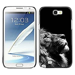 Design for Girls Plastic Cover Case FOR Samsung Note 2 N7100 Lion Photo Black White Looking Up Art OBBA