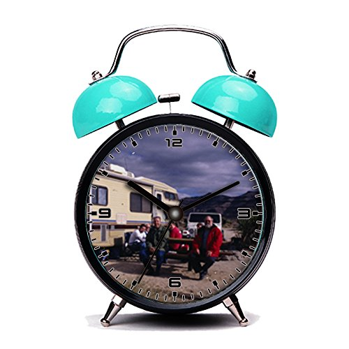 Blue Alarm Clock, Retro Portable Twin Bell Beside Alarm Clocks with Nightlight-080.Campers at Hole-in-the-Wall Campground -