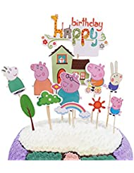 Party Hive 12pc Peppa Pig Cake Toppers for Birthday Party Event Decor