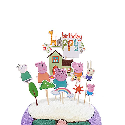 Party Hive 12pc Peppa Cartoon Pig Cake Toppers for Birthday Party Event -
