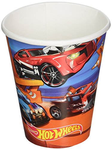 Fast Riding Hot Wheels Wild Racer Birthday Party Cups Tableware, Multi Colored, Paper, 9 Ounces, 8-Piece