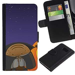 A-type (Lol Monster Espacio Divertido) Colorida Impresión Funda Cuero Monedero Caja Bolsa Cubierta Caja Piel Card Slots Para Samsung Galaxy S6