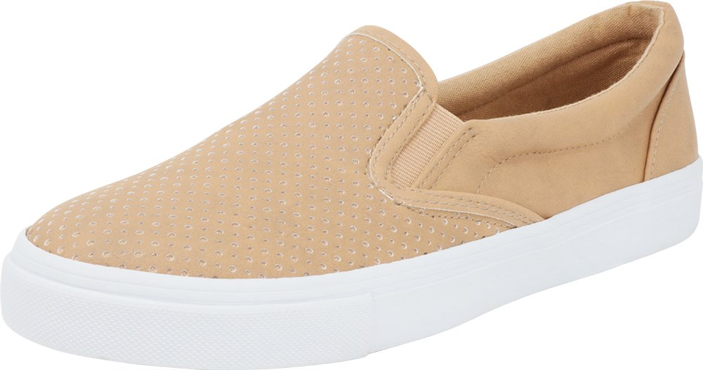 Cambridge Select Women's Slip-On Closed Round Toe Perforated Laser Cutout White Sole Flatform Fashion Sneaker B07BWNJMB8 11 B(M) US Camel Pu