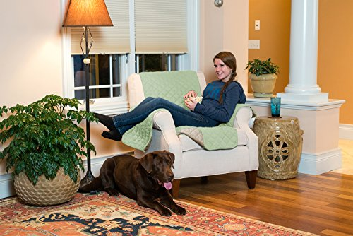 Home Fashion Designs Deluxe Reversible Quilted Furniture Protector and PET PROTECTOR. Two Fresh Looks in One. Perfect for Families with Pets and Kids. By Brand. (Chair - Thyme/Sand) -
