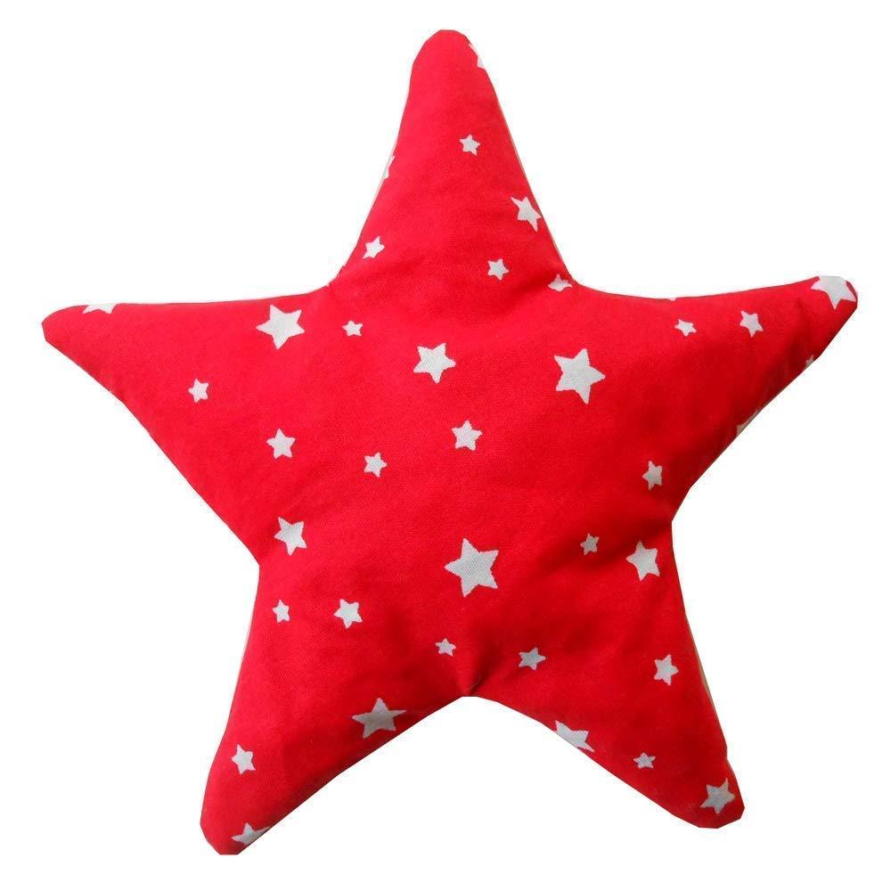 Saquito térmico anti cólicos bebé 'Estrella Roja'- relleno de 150gr de huesos de cereza – Para aliviar cólicos, gases, dolores de barriga de bebés, etc – 18x18cm – 100% algodón