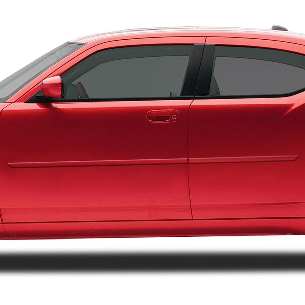 DT Dawn Enterprises FE-Charger Finished End Body Side Molding Compatible with Dodge Charger Dark Titanium Metallic