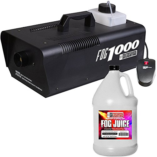 Heavy Duty 1000 Watt Fog Machine W/Remote and One Gallon Fog Juice - Impressive 8,000 Cubic ft. per minute