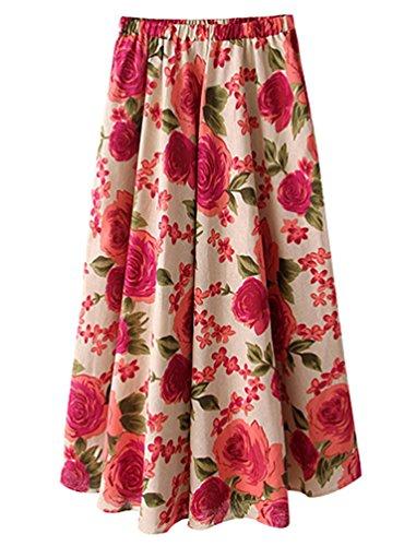 YuanDian Femme Ete Casual Boheme Retro Littrature Et Art Style Imprimee Fleur Lin Grand Swing Longue Jupe en Vrac Taille Elastique A-Line Fluide Maxi Jupes Pivoine