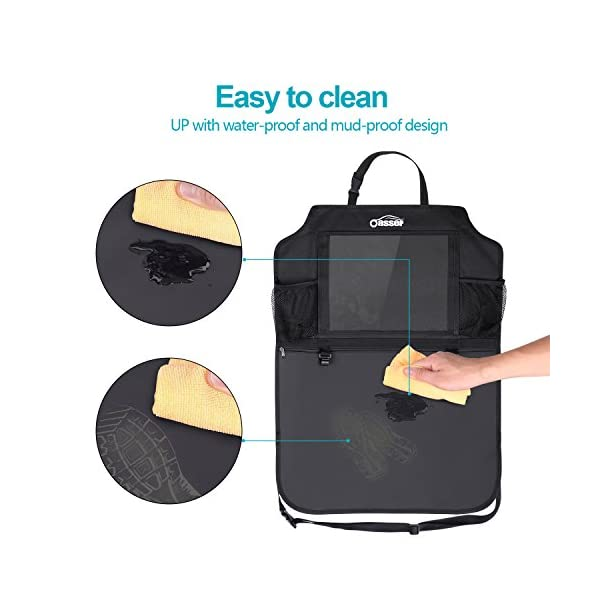 Oasser Kick Mats Car Backseat Organizer Back Of Seat Protector 2 XL With 1 Tissue Box Clear 10 Ipad Holder 3 Large Storage Organizers