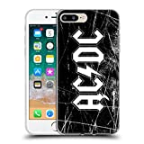 Official AC/DC ACDC White Grunge Logo Soft Gel Case for Apple iPhone 7 Plus / 8 Plus