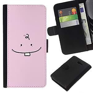 WINCASE Cuadro Funda Voltear Cuero Ranura Tarjetas TPU Carcasas Protectora Cover Case Para Sony Xperia M2 - bebé diente dibujo minimalista rosado lindo