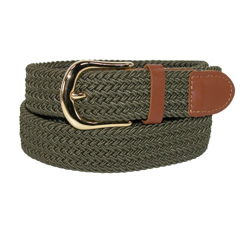 Olive Genuine Belt (CTM Men's Elastic Stretch Belt with Gold Buckle and Tan Tabs, Medium,)