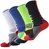 4 Pack Men's Sport Crew Sock Basketball Cushioned Dri-Fit Athletic Long Compression Socks