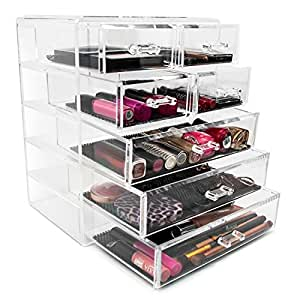 Sorbus Cosmetics Makeup and Jewelry Big Storage Case Display- 3 Large and 4 Small Drawers Space- Saving, Stylish Acrylic Bathroom Case