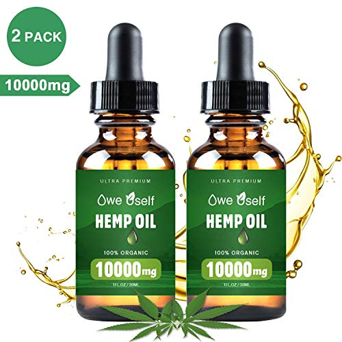 (2-Pack) Hemp Oil - 10000mg Hemp Oil Extract for Pain Relief, Anxiety  Stress Relief, Pure Extract, Vegan Friendly, Helps with Skin  Hair, Relaxation, Better Sleep,Non-GMO - Orange Hemp Flavor