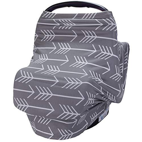 Fine Scarf - Nursing Breastfeeding Cover Scarf - Car Seat Canopy, Multi use Baby Car seat Cover for Girls and Boys,Grey Arrow