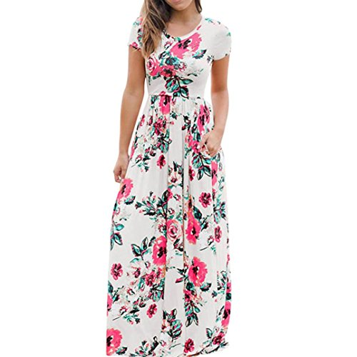 Alimao Women Summer Bohemian Short Sleeve Floral Printed Long Maxi Dress (M, White)