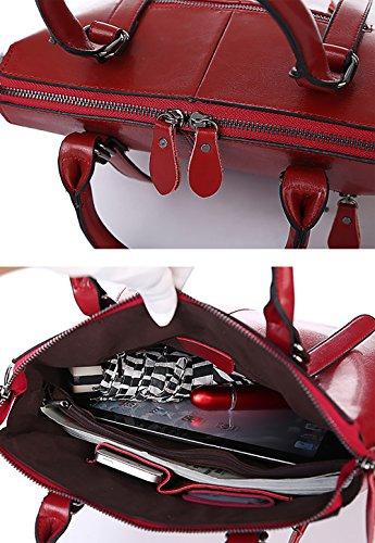 Sac double en poignée tout Noir sac italiennes cuir souple avec cuir top à marron main femmes sacs à Oruil Marron ladys en fourre zip qCwqRd