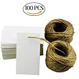100Pcs White Escort Card Tag, DIY Crafts Tags, Retro Gift Kraft Tags with 164ft Natural Jute Twine for Key Bottle Openers, Weddings Favors, Parties, Thanksgiving and Special Events Decoration