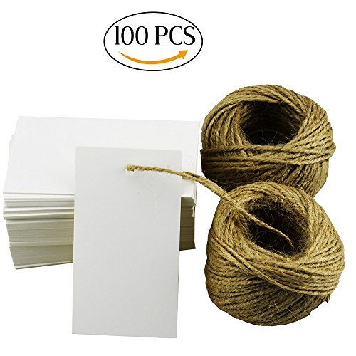 100Pcs White Escort Card Tag, DIY Crafts Tags, Retro Gift Kraft Tags with 164ft Natural Jute Twine for Key Bottle Openers, Weddings Favors, Parties, Thanksgiving and Special Events Decoration (Retro Scrapbooking Paper Art)