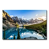 Modern Canvas Painting Wall Art The Picture for Home Decoration Moraine Lake and Mountain Range Sunset Canadian Rocky Mountains Landscape Mountain&Lake Print On Canvas Giclee Artwork for Wall Decor